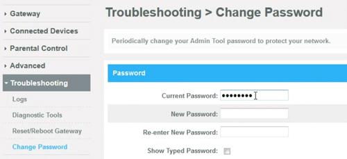 change the default router password