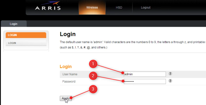 the Arris router login page