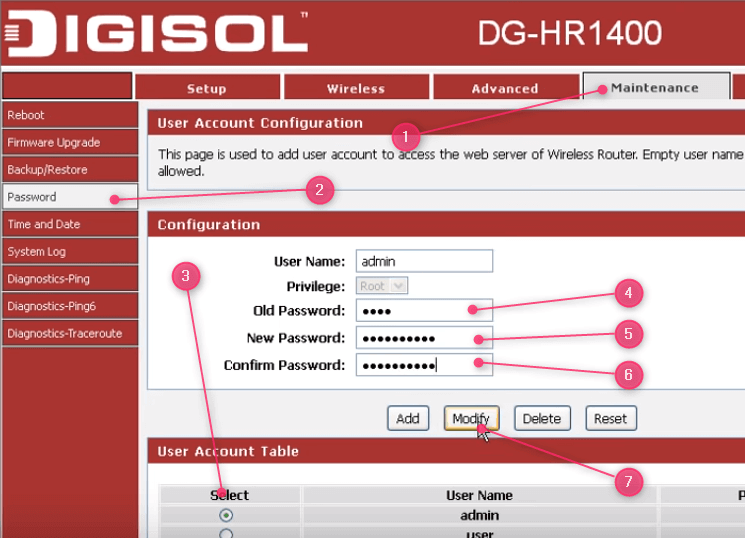 Changing the DIGISOL router password