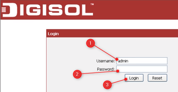 the DIGISOL router login page