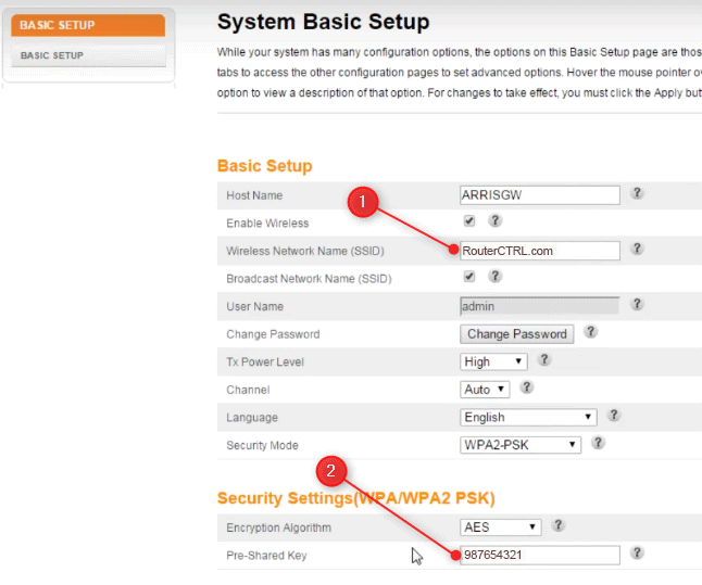 Changing the wireless settings on Arris router