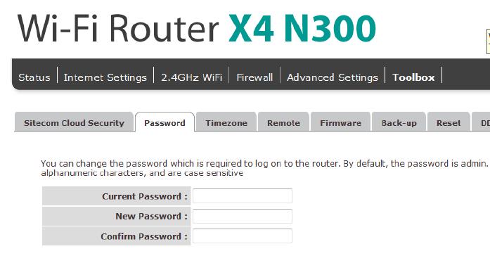 change sitecom router password