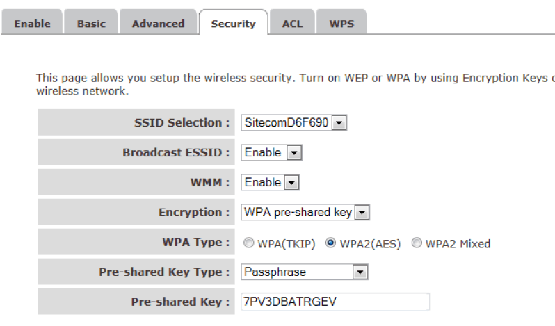 sitecom wireless settings
