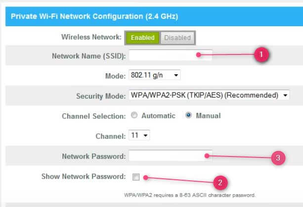 Change or setup a new the SSID and network password