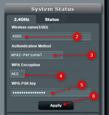 Change ASUS WiFi name and password
