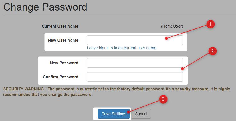 Change Tecnicolor router password