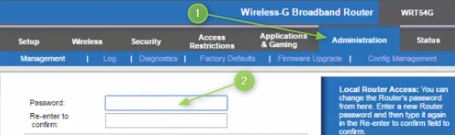 Change the Linksys router login password