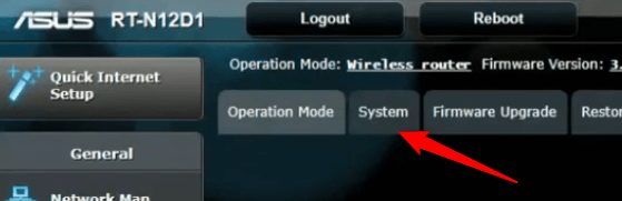 Click SYSTEM in the top menu