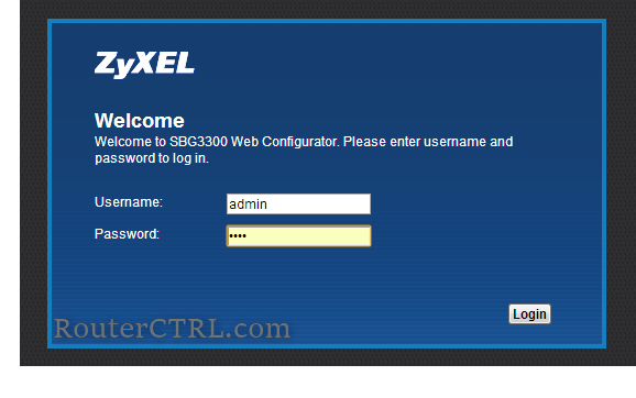 zyxel router login page