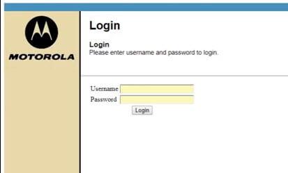 Motorola router login page