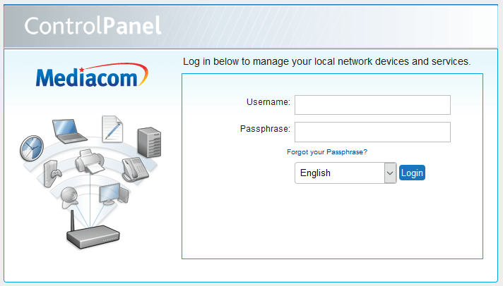 Mediacom Home Network Manager login page