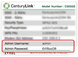 Centurylink router login details
