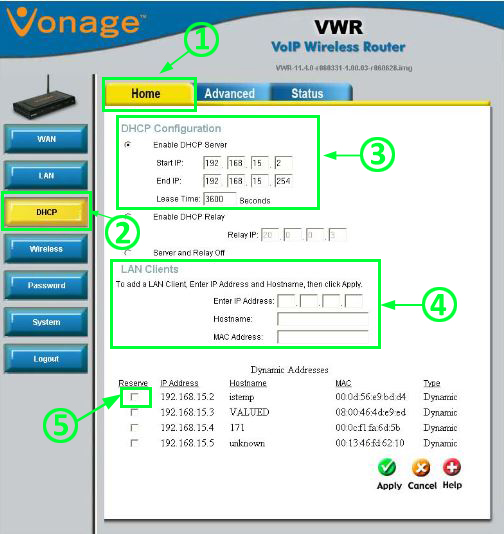 DHCP configuration