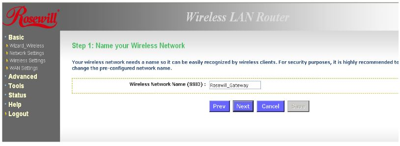 Enter the desired network name (SSID) and click Next