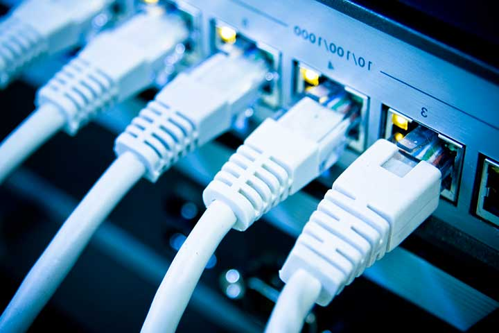 Ethernet cables connected to a switch