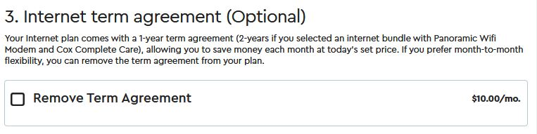 Not signing the term agreement will cost you $10/month