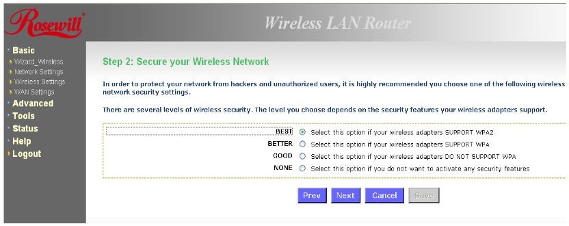 Select wireless security protocol (preferably WPA2) and click Next