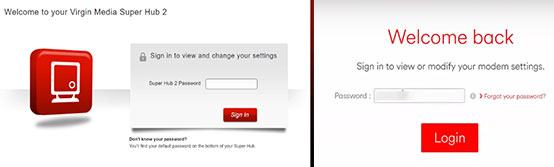 virgin media router login pages