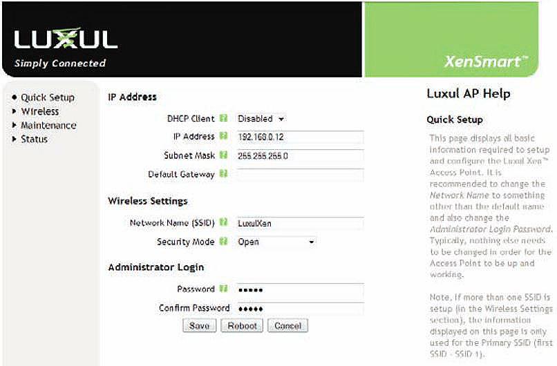 Luxul XAP-1030 Quick Setup