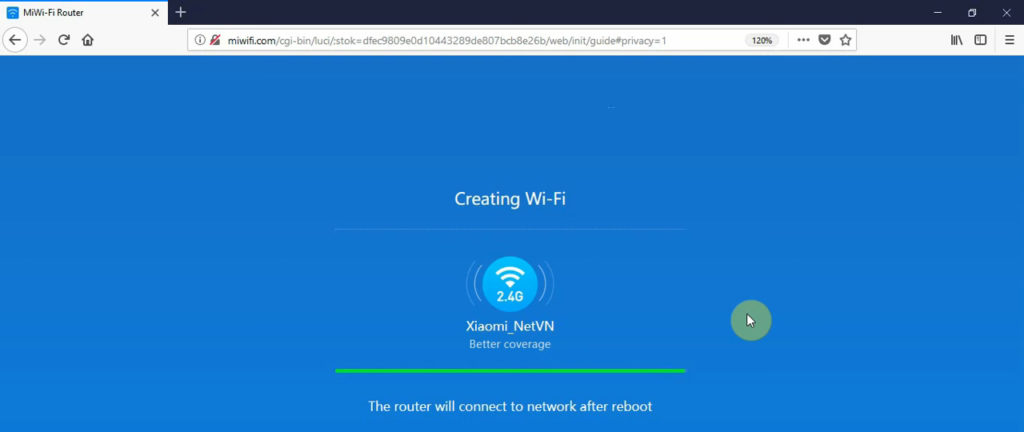Wait for the router to reboot and create the wi-fi network