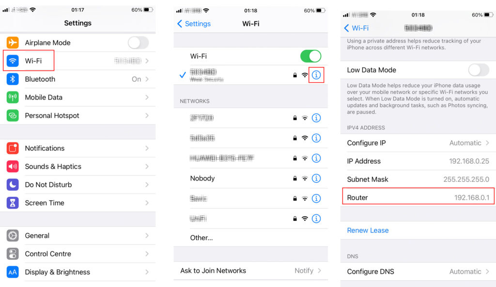 You can find your default gateway on your iOS device in three steps