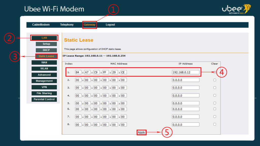 Step by step - how to assign 192.168.0.12 as a static IP to your printer/PC