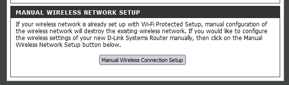 manual Wireless connection setup