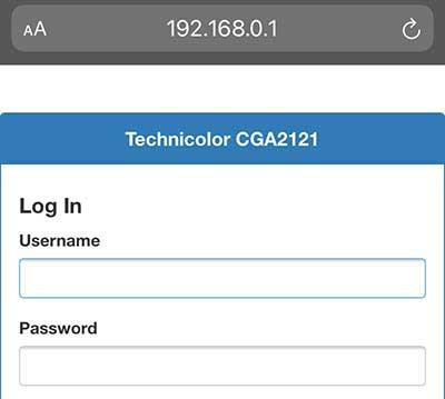 open default IP address on mobile