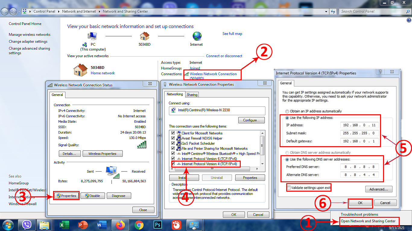 How to assign a static IP to a PC running on Windows 7
