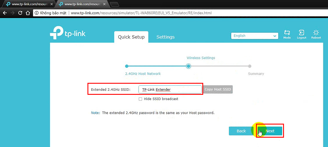 Enter the network name for your extender's network