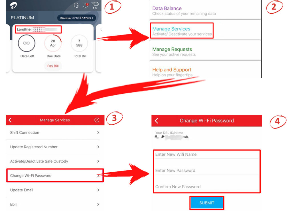 How to change Airtel Wi-Fi password using the application