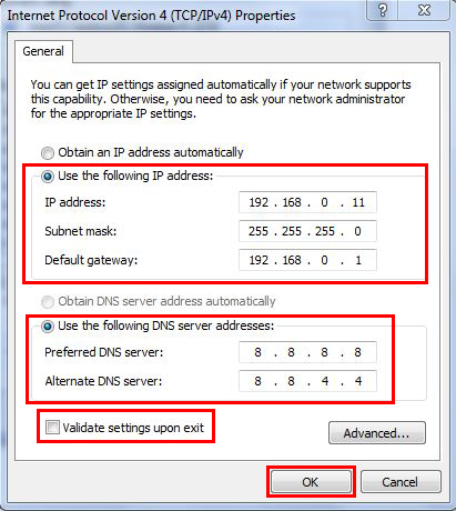 TPC/IPv4 properties