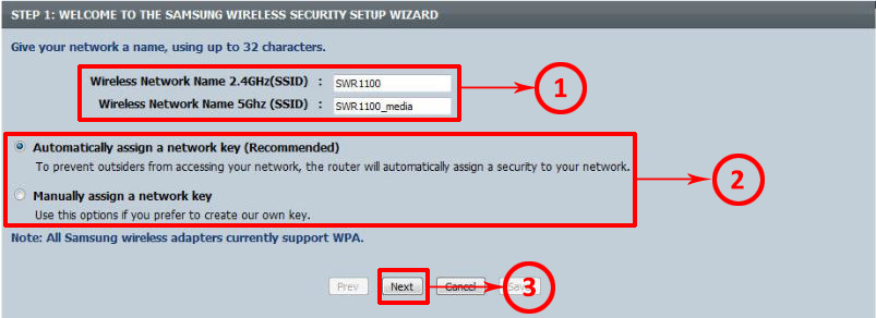 ENTER THE NAME FOR EACH NETWORK AND CHOOSE HOW YOU WANT TO ASSIGN PASSWORD