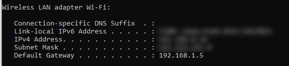 Default gateway 192.168.1.5