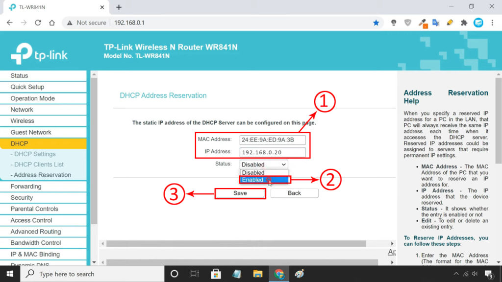 enable DHCP reservation