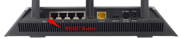 netgear reset button at the back of the router