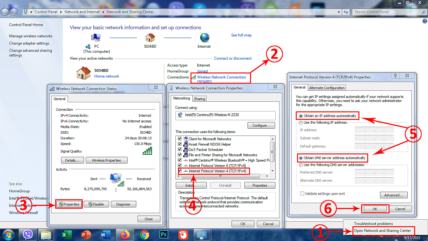 select Obtain IP Address Automatically and Obtain DNS Server Address Automatically