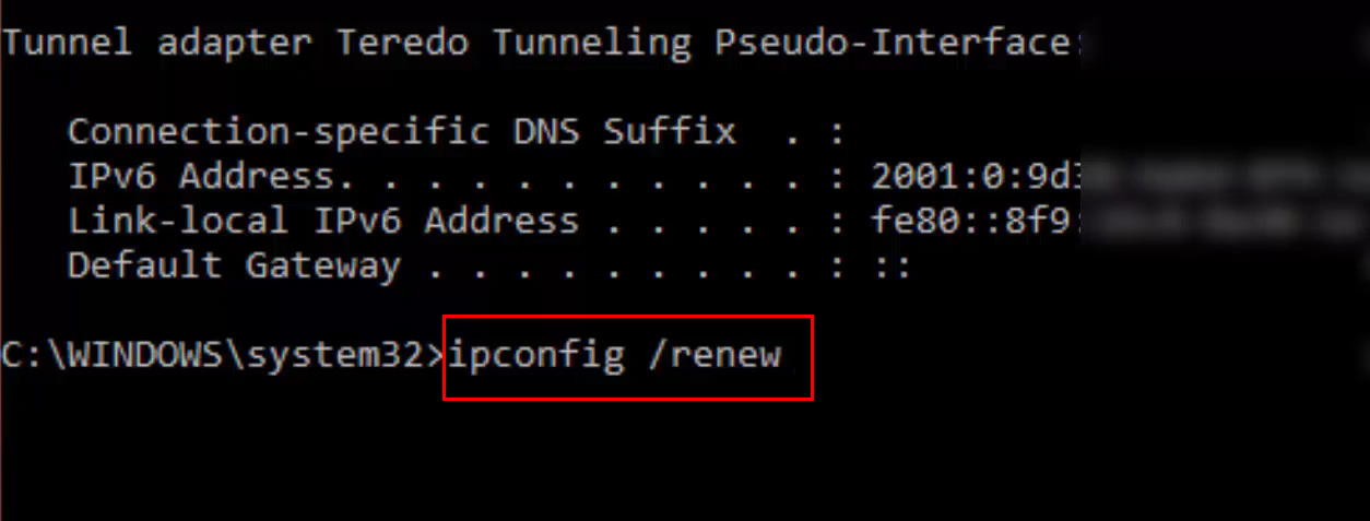 this command gives a new IP address to your PC from the DHCP pool