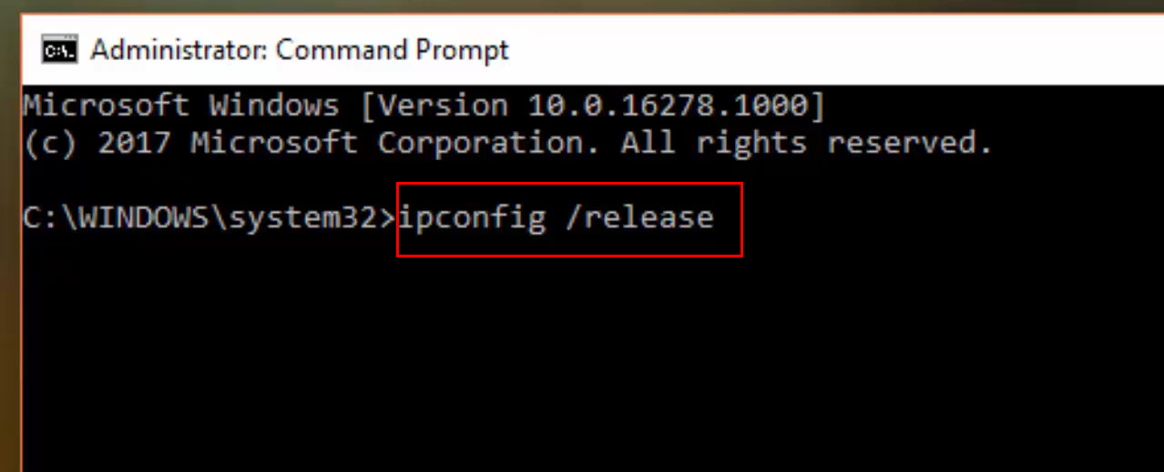 this command releases the IP address currently assigned to your PC