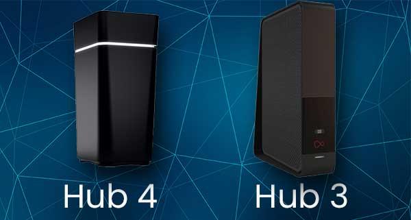 Virgin Media Hub 4 and 3