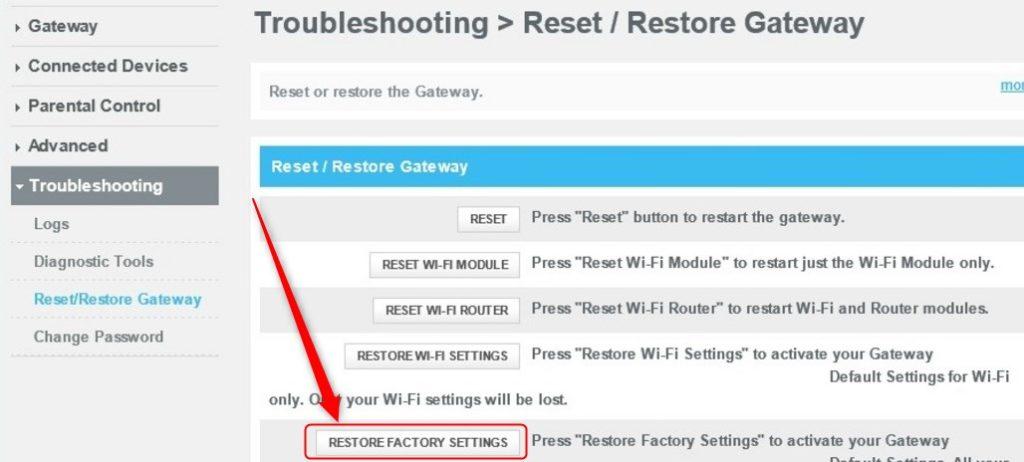 xfinity gateway restore factory settings