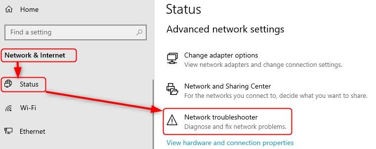 network troubleshooter windows 10