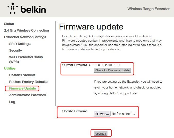 uppgrade firmware on Belkin n300 wifi extender